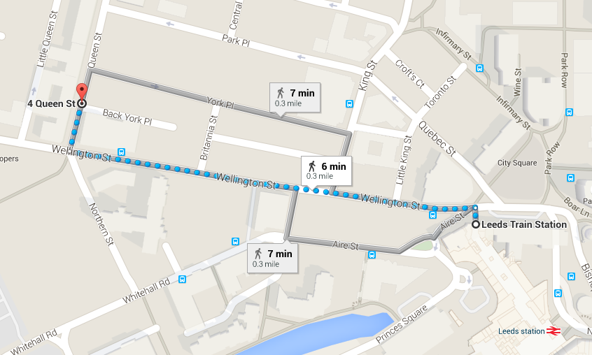 Directions to therapy rooms from Leeds Station